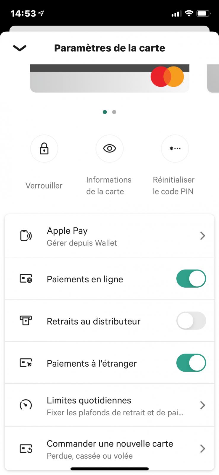 N26 options carte bancaire