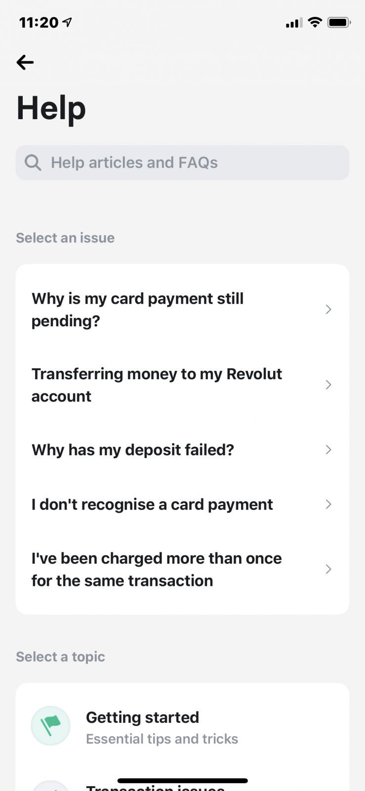 Revolut Aide - Support clients
