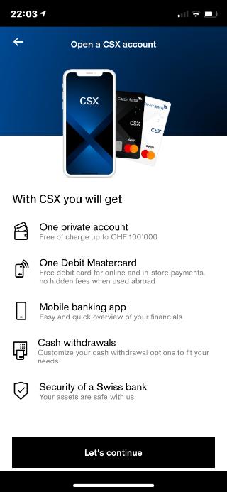 CSX - Ouverture de compte